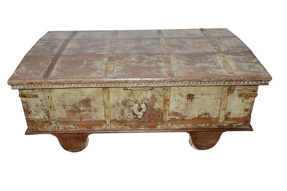 Antique Indian Trunk Chest Coffee Table Reclaimed Distressed Green Hope Chest Storage Eclectic Farmhouse Rustic Country Chic
