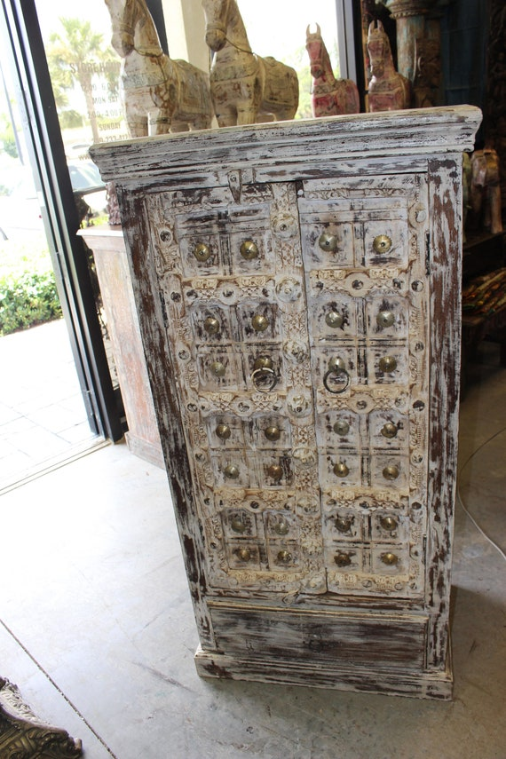 image 0 - DISTRESSED WHITE INDIAN Antique Wooden Cabinet Brass Medallion Etsy