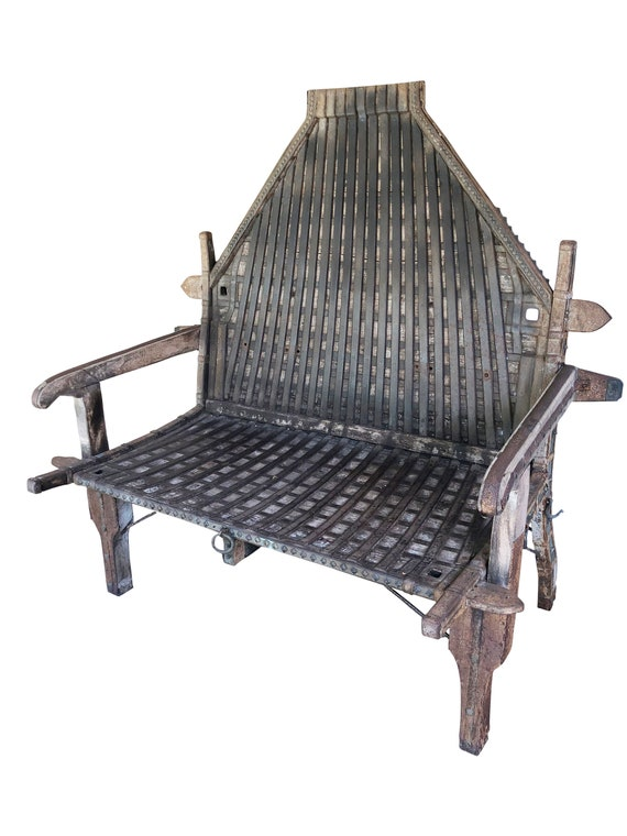 Antique Iron And Wood Oxcart Bench Conscious Earthing Design Vintage Unique Design Rustic Interior Styling Moving Sale