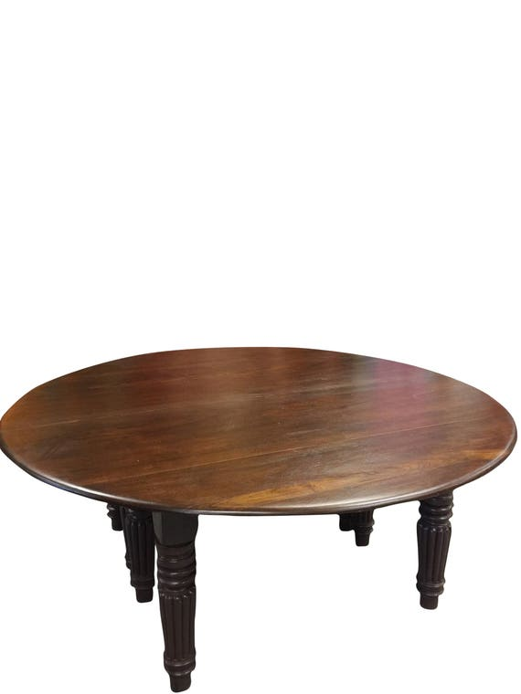 Antique Farmhouse Table Round Dining Table Burmese Teak Table Solid Wood Hand Carved Tapered Legs Rustic Furniture 19c Shabby Chic