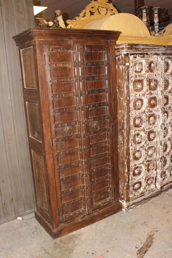 image 0 - Old Antique Indian Doors With Iron Straps Hand Crafted Armoire Etsy