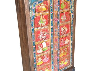 Antique Indian Armoire Hand painted Ganesha Bohemian Decor Cabinet Wardrobe Unique Red Blue Colorful Country Chic Decor