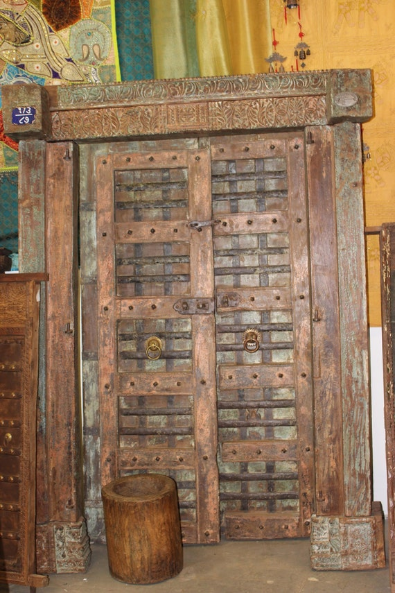 image 0 - Indian Antique Chakra Earthing Teak Wood Doors Distressed Etsy