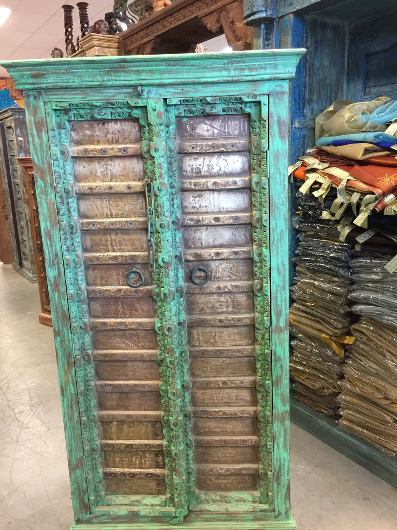 antique green armoire brass old doors patina storage cabinet etsy rh etsy com