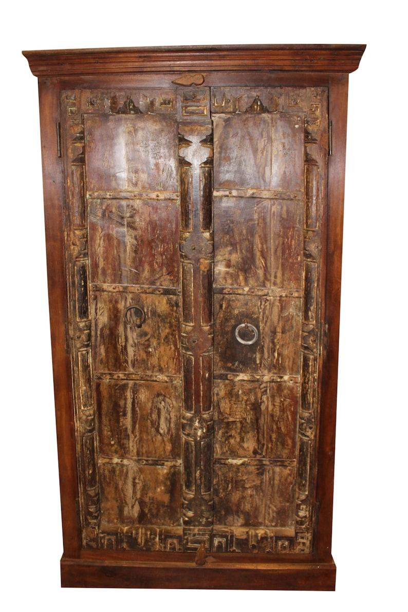 Gentil Antique Armoire Old Doors RUSTIC Cabinet Reclaimed TEAK Wood Bedroom  Wardrobe Storage Southern FARMHOUSE