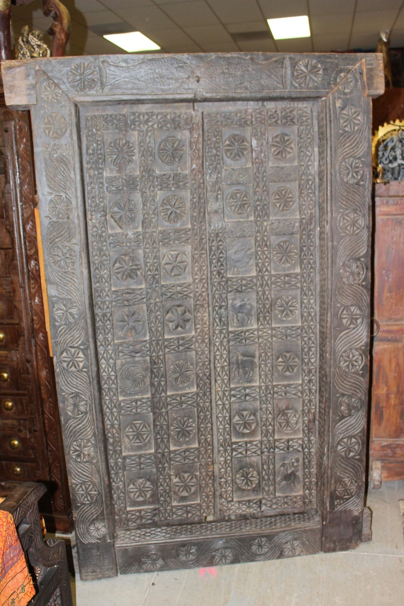 18c temple lotus primitive old carved door traditional indian etsy