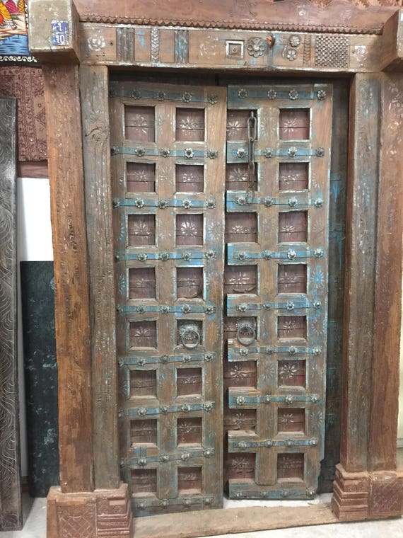 image 0 - Antique Indian Doors YOGA Lotus Blossom Doors Floral Patina Etsy