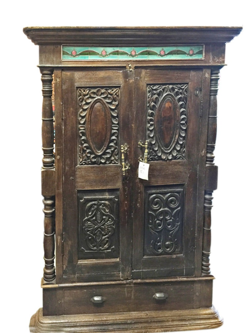 Antique Indian Teak Window Terrace Mirror India Furniture Rare Etsy