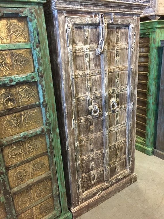 Antique Iron Latch Accent Cabinet Teak Doors India Furniture Etsy