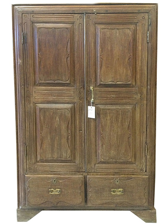 image 0 - Antique Armoire Indian Furniture Vintage Teak Cabinet Bedroom Etsy