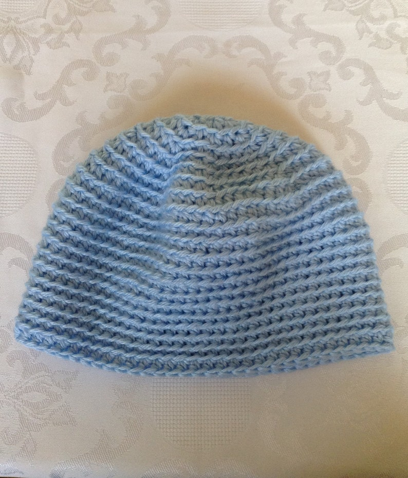 Sale Chemo Cap Blue Crochet Chemo Hat Beanie Womens Chemo Head Etsy