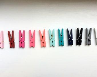 Colored Mini Clothespins, Small Colored Clothespins, 1 3/8 Inch Clothespins, Wedding Decor, Craft Clothespins, Pretty Clothespins, 10 Count