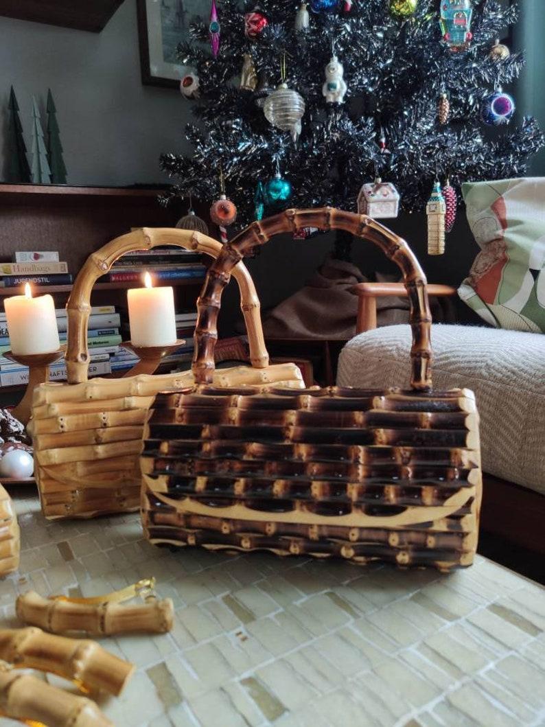 1950s Handbags, Purses, and Evening Bag Styles Bamboo handbag clutch style with handle - dark brown - tropical Hawaii Tiki 50s $75.50 AT vintagedancer.com