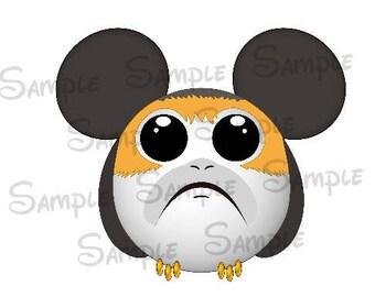Porg inspired Character Mickey head DIGITAL printable file DIY