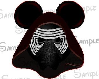 Kylo Ren (Star Wars) Character inspired Mouse head ears DIGITAL printable file DIY