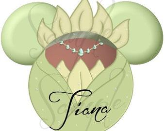 Princess (and the Frog) Tiana Green Dress inspired character DIGITAL Printable file DIY