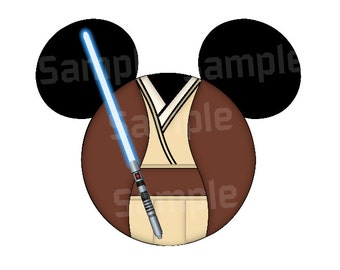Jedi inspired Character Mouse head DIGITAL printable file DIY