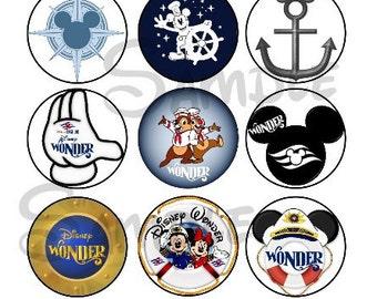 """Various Wonder DCL inspired DIGITAL Bottle Cap image sheet 4x6 1"""" inch  DIY Disney Cruise"""