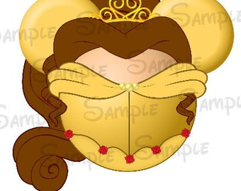 Belle (Beauty and the Beast) inspired Character DIGITAL Mickey Head printable file DIY