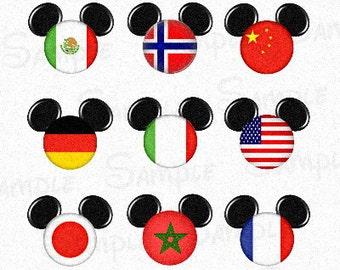 "World Flag inspired Mickey head DIGITAL Bottle Cap image sheet 4x6 1"" inch  DIY"
