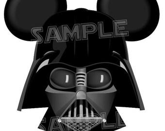 Darth Vader inspired DIGITAL printable Mickey Head file DIY