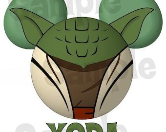 Yoda Star Wars inspired Character Mickey head DIGITAL printable file DIY