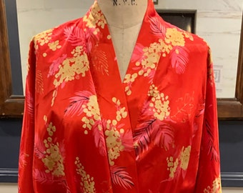 Robe Large Morgan Taylor Intimates Red Kimono Style Inner and Outer Ties Vintage Lingerie