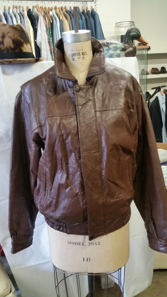 1980's HABAND Brown LEATHER BOMBER Jacket Size M