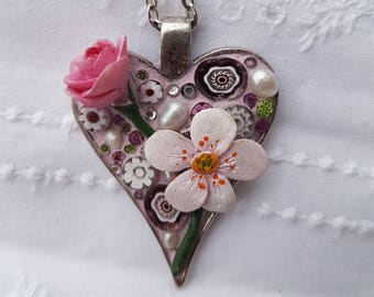 Mosaic Pendant//Mosaik Anhänger//polymer flower//gifts for her //unique