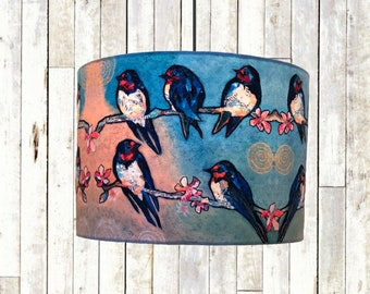 Swallow (SLIGHT SECONDS) - Handmade Bird Drum Lampshade