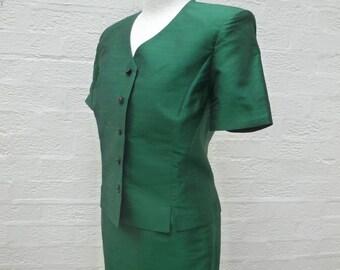 Green silk suit, women's jacket & skirt hand made clothing. Vintage ladys bespoke 1980s, Japanese made ooak suit.