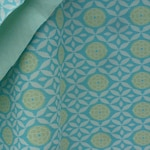 Vintage fabric crimplene cloth 70s home hobby sewing lime blue material crafts pastel supplies British