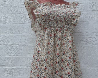 fd6935ee1472 Floral dress summer clothing festival vintage dress 1980s clothing urban  indie floral retro rustic cotton dress her country clothing rustic.