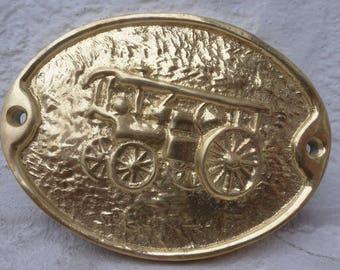 Brass plaque steam wagon gift for him rustic decor cottage 1970s farmhouse vintage present husband boyfriend brass 70s fireplace decor door.