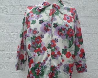 0bdfc261928 Vintage blouse womens clothing gift shirt 1970s fashion, floral vintage  retro blouse top, bold summer flower shirt handmade UK