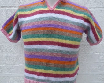 9247e9d61f2cb Pink jumper green handmade sweater short sleeved top knit vintage wool  clothing 90s striped jumper sweater gift small tank top urban indie.