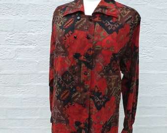 9ca086dd094394 Vintage top ladies 1980s blouse, red & black abstract smart womens shirt,  eco-friendly clothing vintage Jaeger medium size.