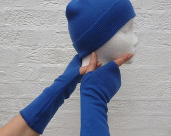 150ca3966 Gloves   hat set blue cashmere accessories. Arm warmers with matching hat