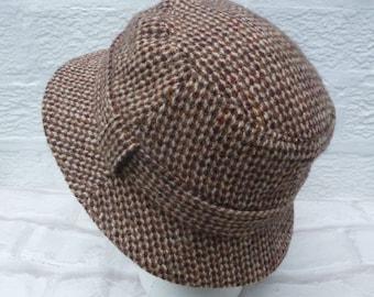 f735f6064b6 Brown tweed hat bucket style trilby vintage harris tweed accessory