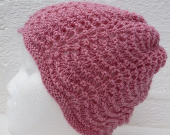 975fb9ab Pink wool vintage hat, granny knit hand made beanie. 1990s knitted ladys  cute winter country chic vintage headwear.