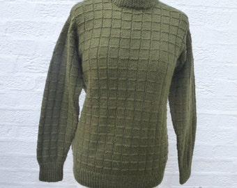 Pullover green jumper khaki clothing handmade vintage sweater unisex clothes green ecofriendly top men's jumper knit chunky sweater.