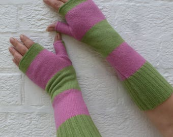 Long gloves arm warmers small fingerless mitten gloves pure wool long handwarmers small ladies winter accessories pink and green lambswool.
