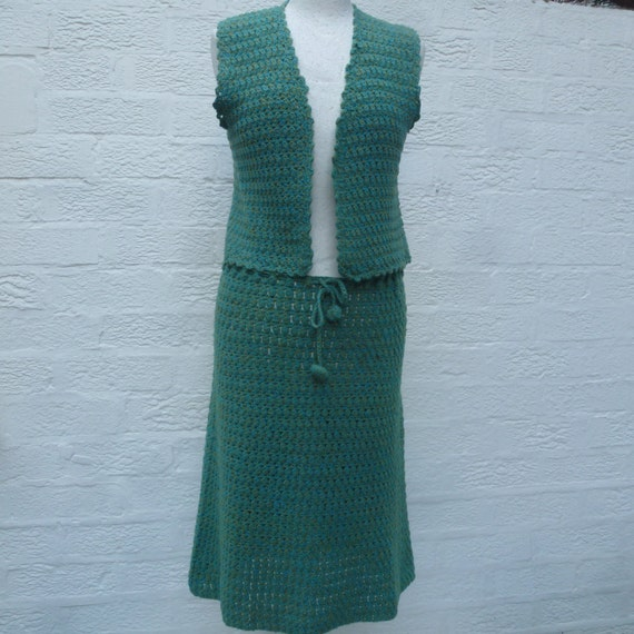 Vintage suit hand crocheted small women's clothing