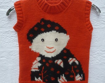 Childs tank top girls clothing vintage fashion wool jumper sweater infants clothes kids pullover handmade top red retro kids cosy knit 1980s