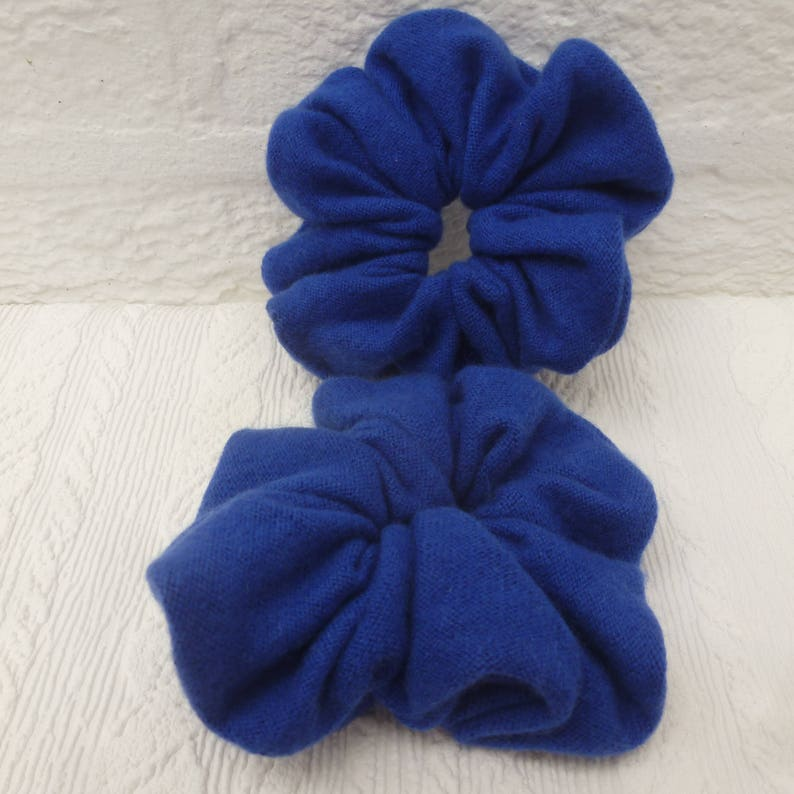 back to school blue bun holders. Eco-friendly hand made hairbands Two cashmere accessories for hair care Large soft wool hairties