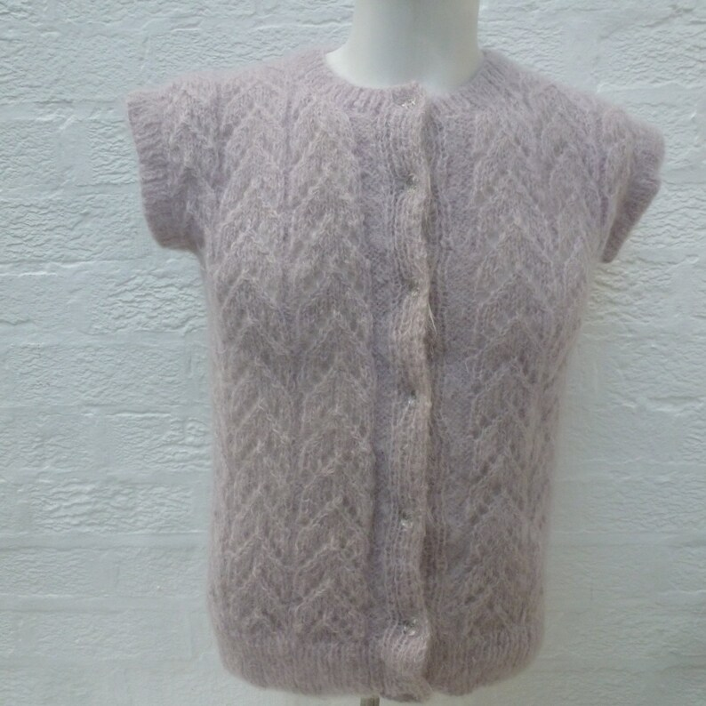 soft handmade 1980s lilac grey cottage chic vest tank top. wool knit chevron lace city vintage waistcoat Sleeveless cardigan mohair top