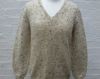 Oatmeal jumper wool pullover knit clothing, 1990s vintage sweater woodland ladies top, handmade ecofriendly boho gift.