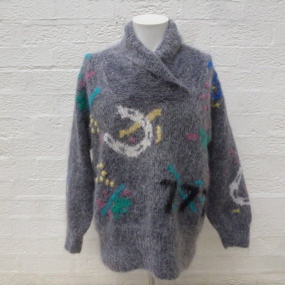 Vintage mohair sweater womens jumper, 1980s hand m