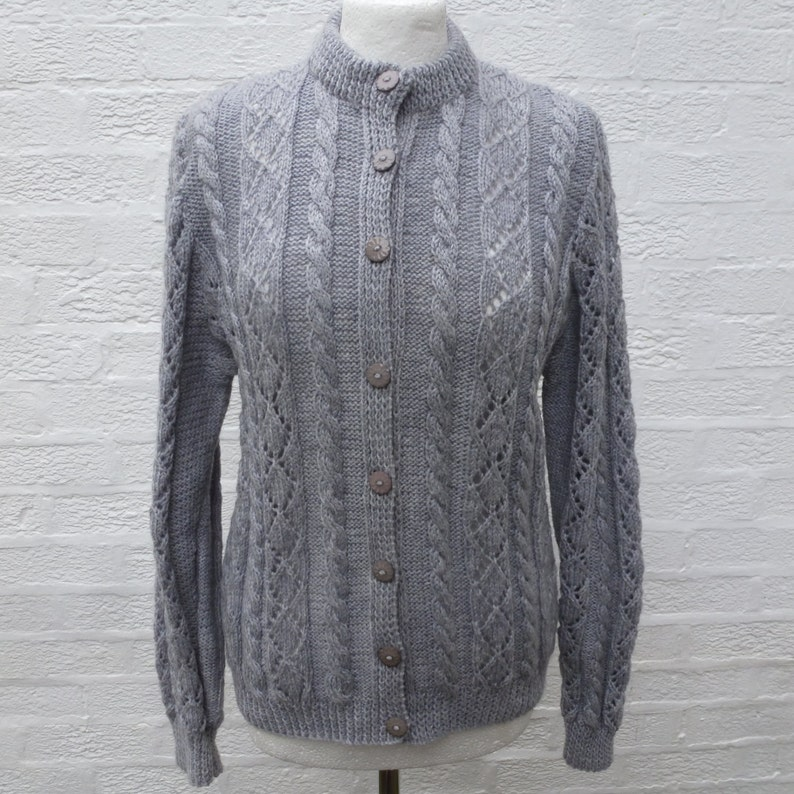 22e150ae8 Grey vintage cardigan womens hand made clothing 1990s cable