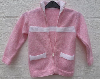Young teens handmade cardigan clothing, pink & white zip up sweater, 1990s vintage girls top with pockets. White stripe soft pink knitwear.